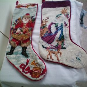2 NICE vintage embroidered Christmas stockings